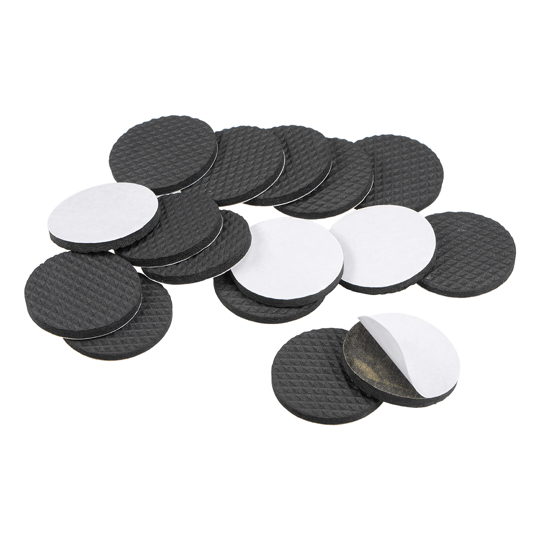 Furniture Pads Adhesive Rubber Pads 38mm Dia 4mm Thick Round Black 48Pcs