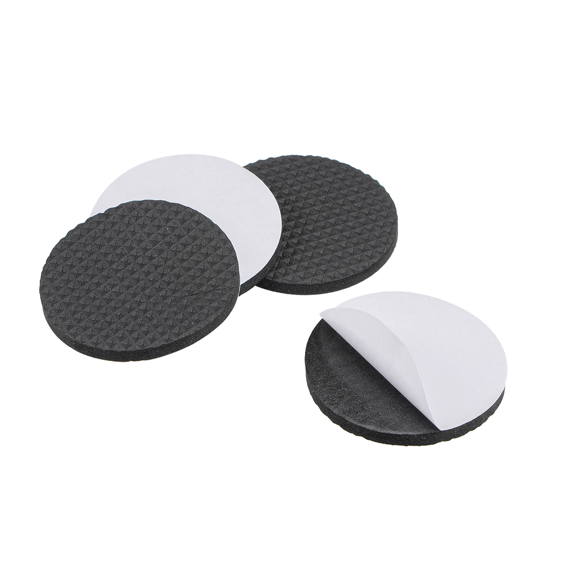 Furniture Pads Adhesive Rubber Pads 50mm Dia 4mm Thick Round Black 4Pcs