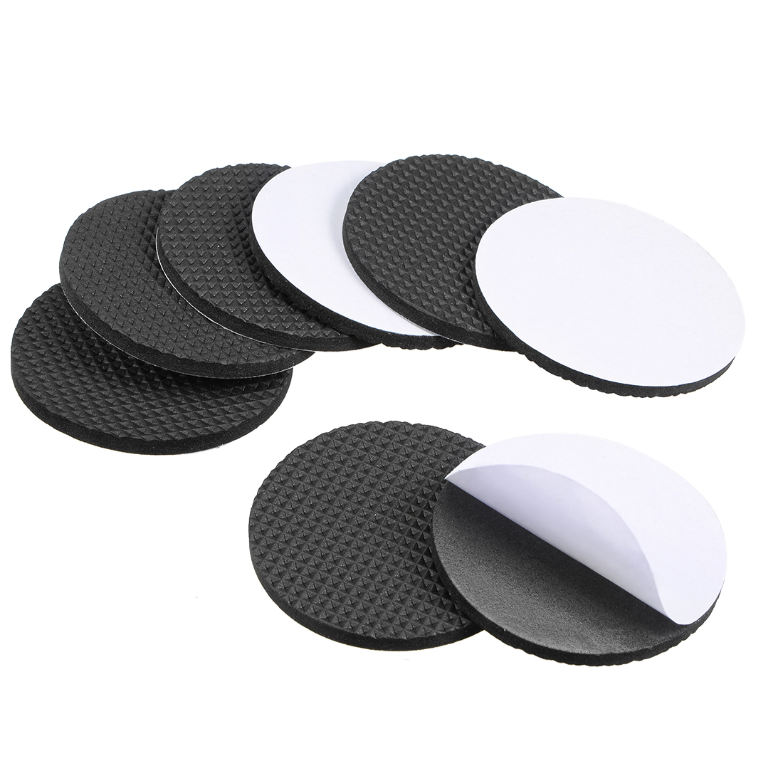 Furniture Pads Adhesive Rubber Pads 60mm Dia 4mm Thick Round Black 8Pcs