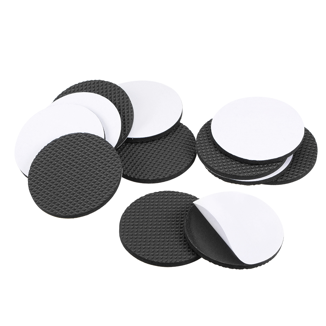 Furniture Pads Adhesive Rubber Pads 60mm Dia 4mm Thick Round Black 28Pcs