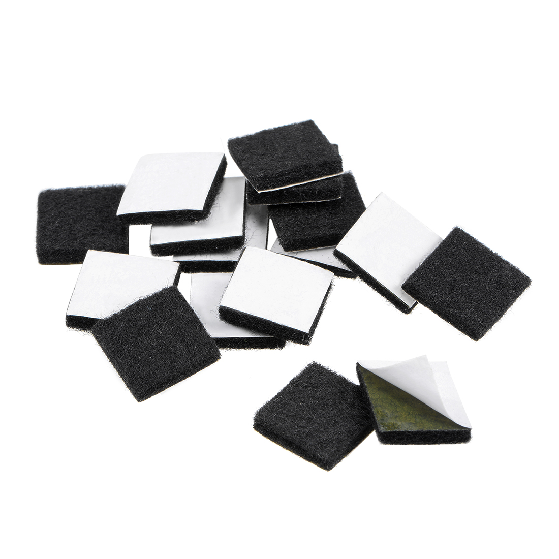 Furniture Pads Adhesive Felt Pads 16mm x 16mm Square 3mm Thick Black 16Pcs