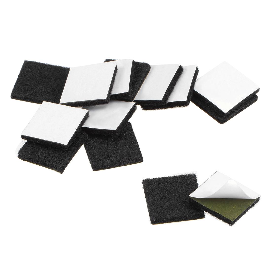 Furniture Pads Adhesive Felt Pads 20mm x 20mm Square 3mm Thick Black 48Pcs