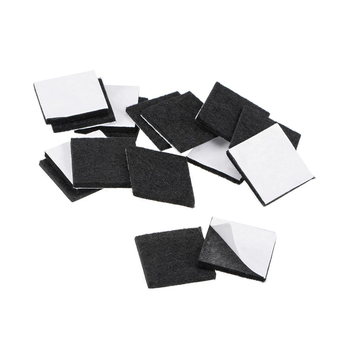 Furniture Pads Adhesive Felt Pads 25mm x 25mm Square 3mm Thick Black 36Pcs