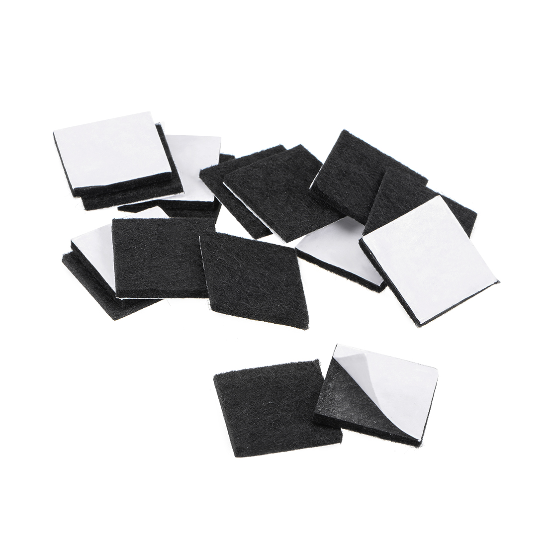 Furniture Pads Adhesive Felt Pads 25mm x 25mm Square 3mm Thick Black 48Pcs
