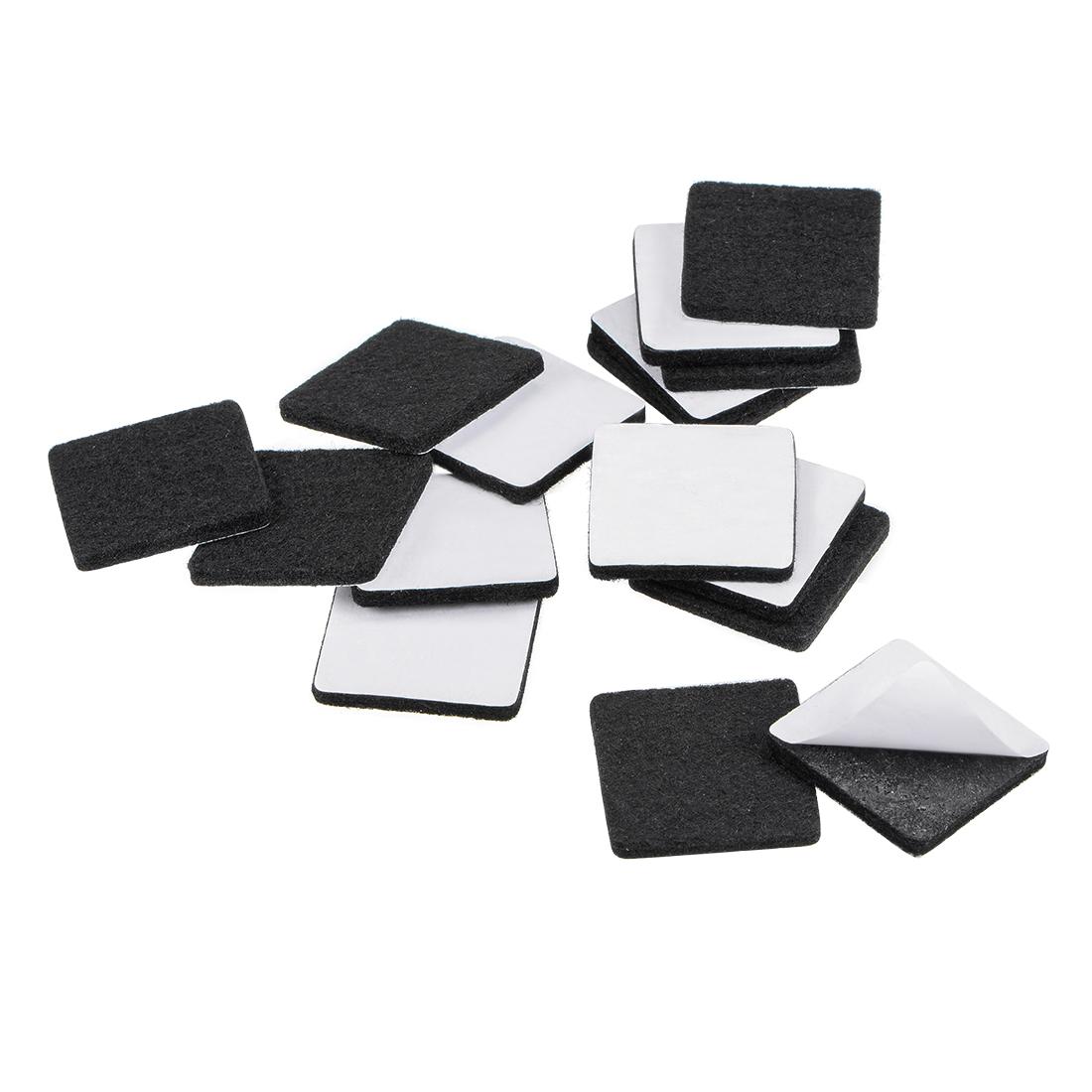 Furniture Pads Adhesive Felt Pads 30mm x 30mm Square 3mm Thick Black 48Pcs