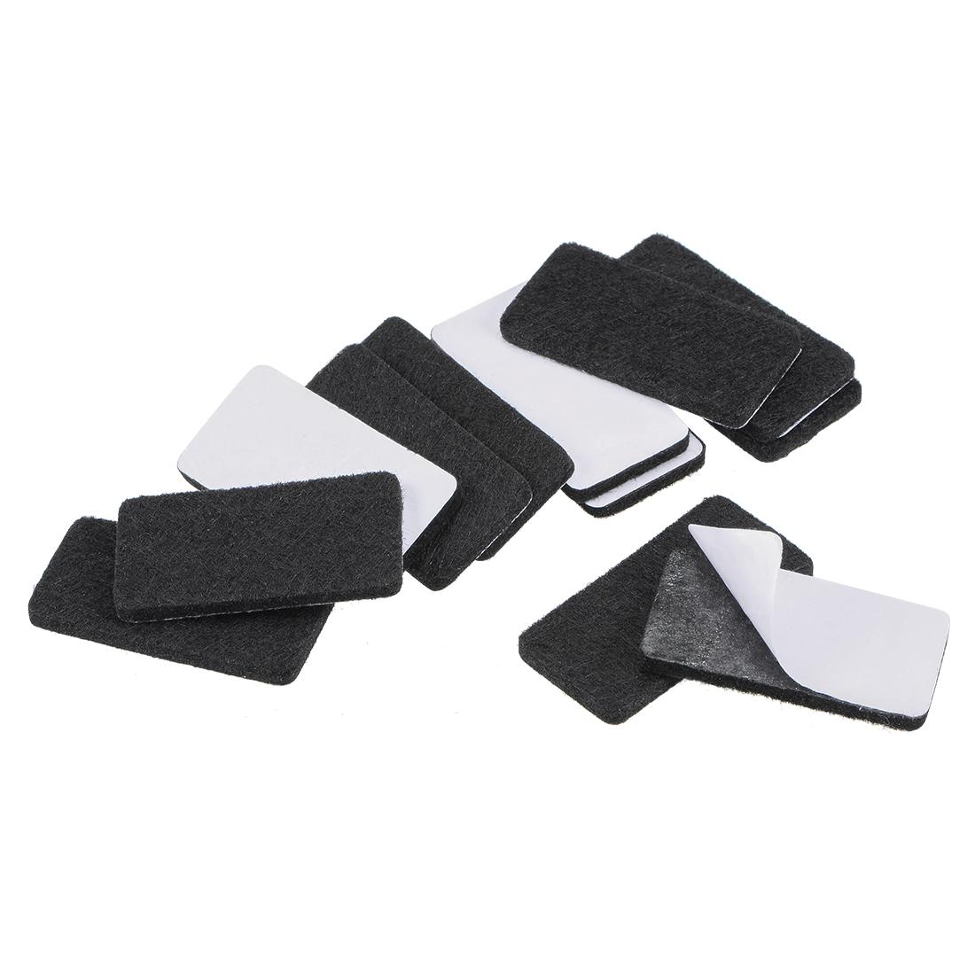 Furniture Pads 40mm x 20mm Adhesive Felt Pads 3mm Thick Black 16Pcs