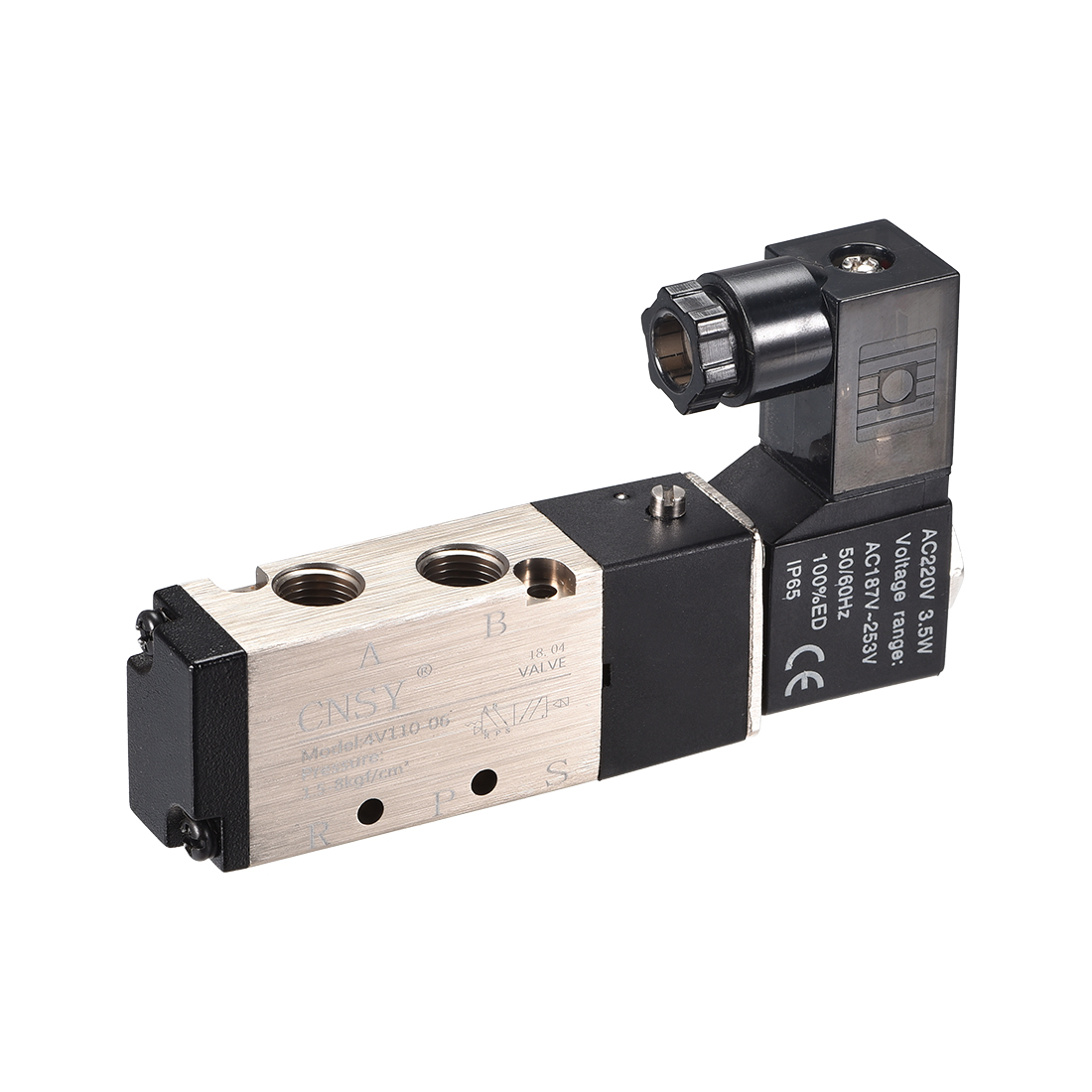 """4V110-06 Air Single Electrical Solenoid Valve AC 220V 5 Ways 2 Position 1/8"""" PT"""
