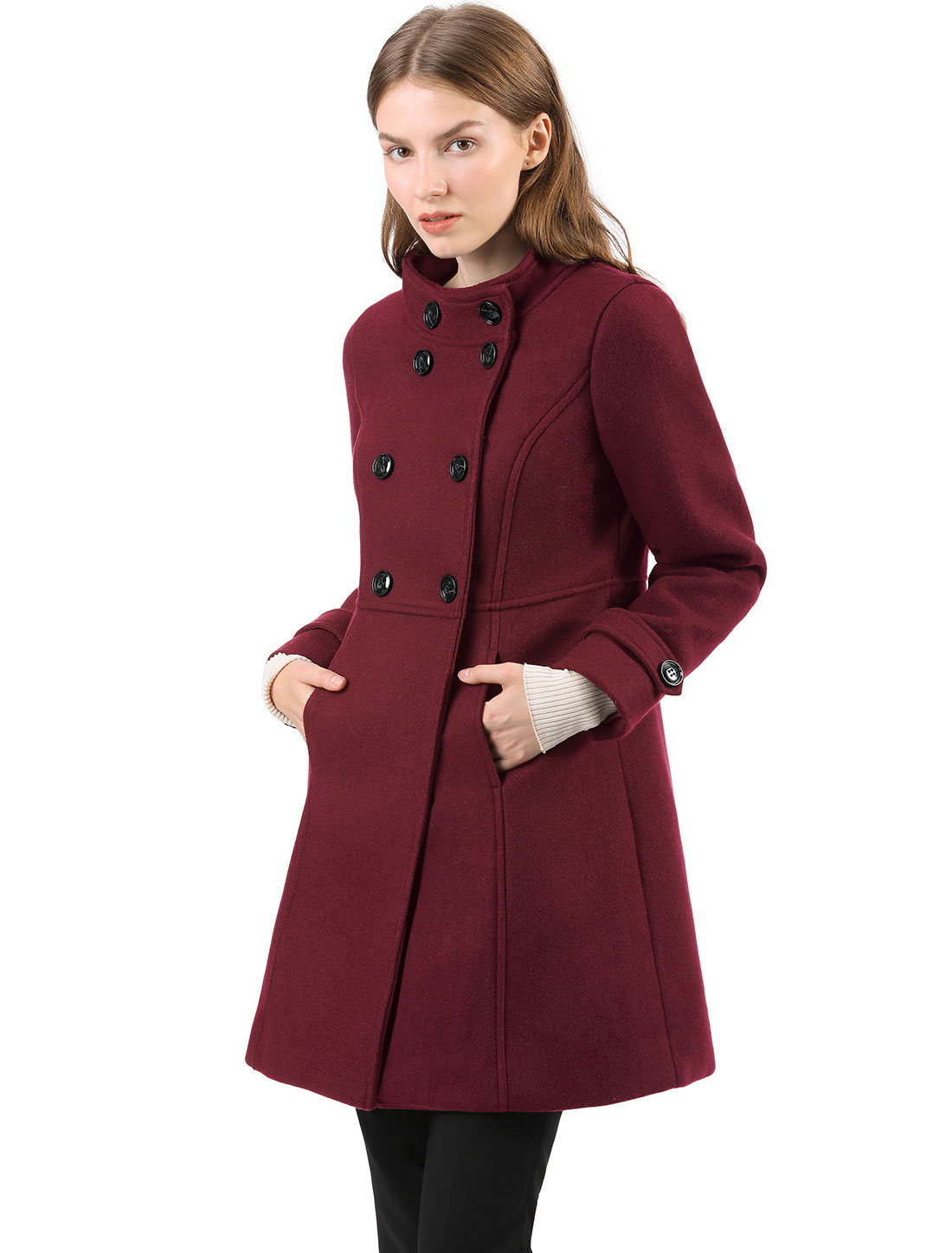 Women's Stand Collar Double Breasted A-Line Winter Outwear Coat Burgundy S
