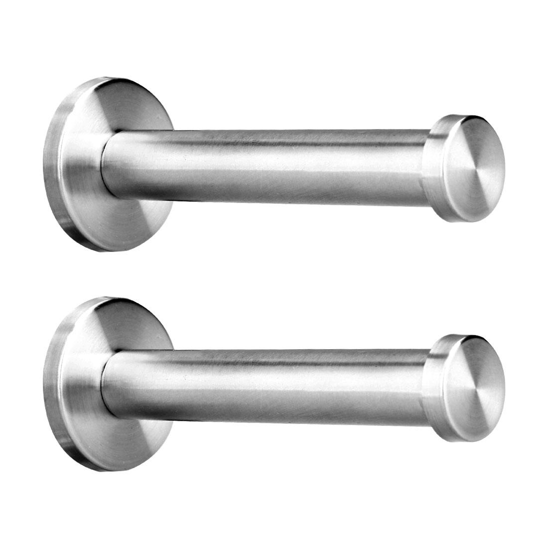 2pcs Wall Hooks Stainless Steel 205mm Hook Coat Towel Key DIY Hanger w Screws