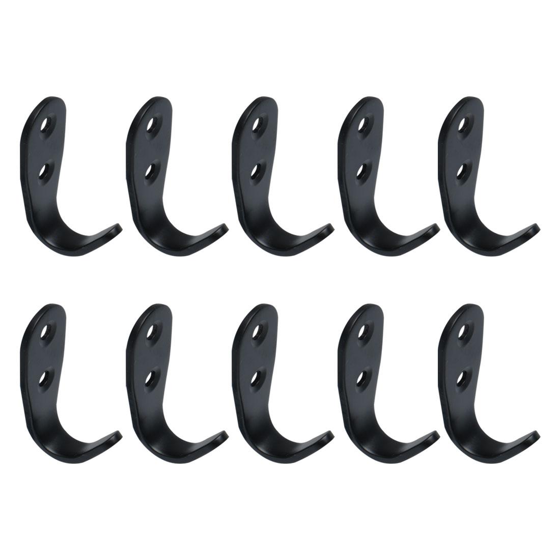 10pcs Wall Hook Stainless Steel 53mm Hook Scarf Towel Wall Hanger w Screws Black