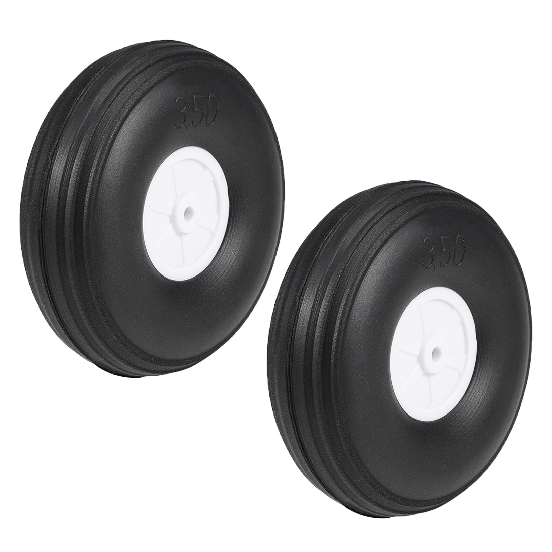 """Tire and Wheel Sets for RC Airplane,PU Sponge Tire with Plastic Hub,3.5"""" 2pcs"""