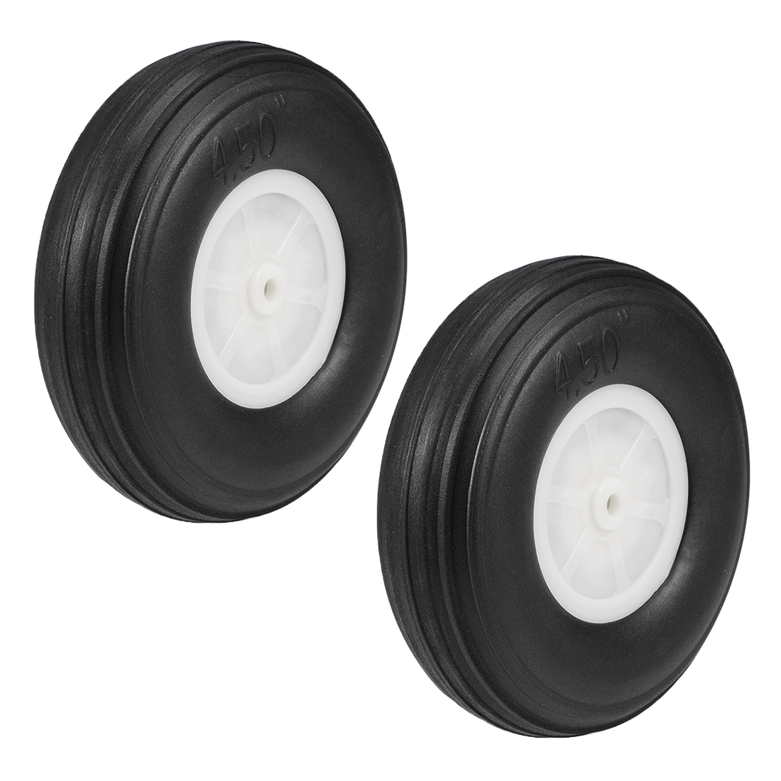 """Tire and Wheel Sets for RC Airplane,PU Sponge Tire with Plastic Hub,4.5"""" 2pcs"""
