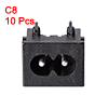 Panel Mount Plug Adapter 250V AC 2.5A C8 2 Pins Inlet Module Right Angle 10pcs