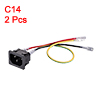 C14 Panel Mount Plug Adapter AC 250V 10A 3 Pins IEC Inlet Plug with 3 Wires 2pcs
