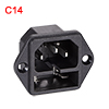 C14 Panel Mount Plug Adapter AC 250V 10A 3Pins IEC Inlet Plug Socket Straight