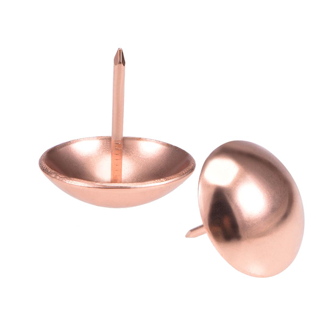 Upholstery Nails Tacks 25mmx25mm Round Thumb Push Pins Rose Gold Tone 15 Pcs