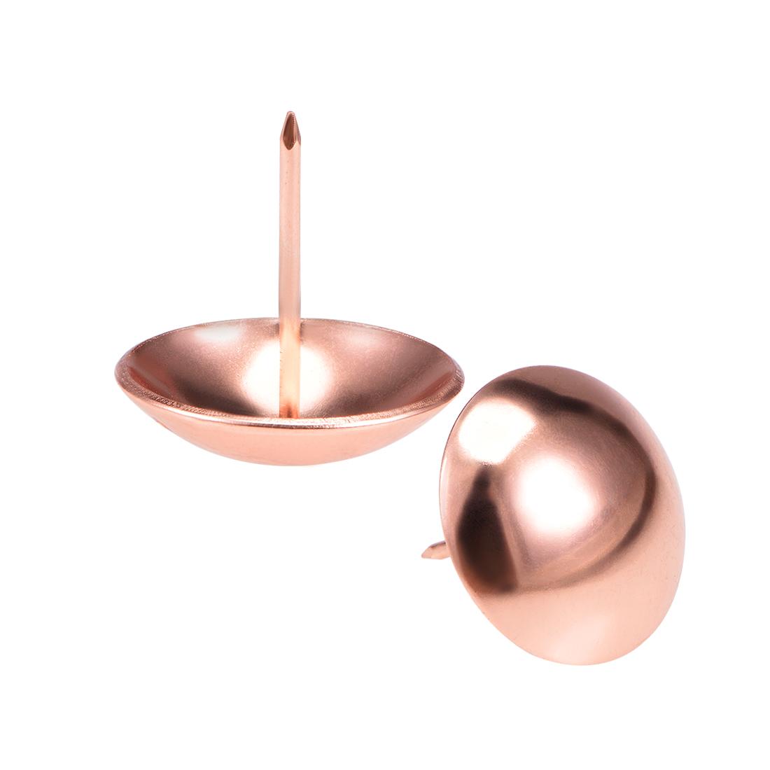 Upholstery Nails Tacks 30mmx30mm Round Thumb Push Pins Rose Gold Tone 15 Pcs
