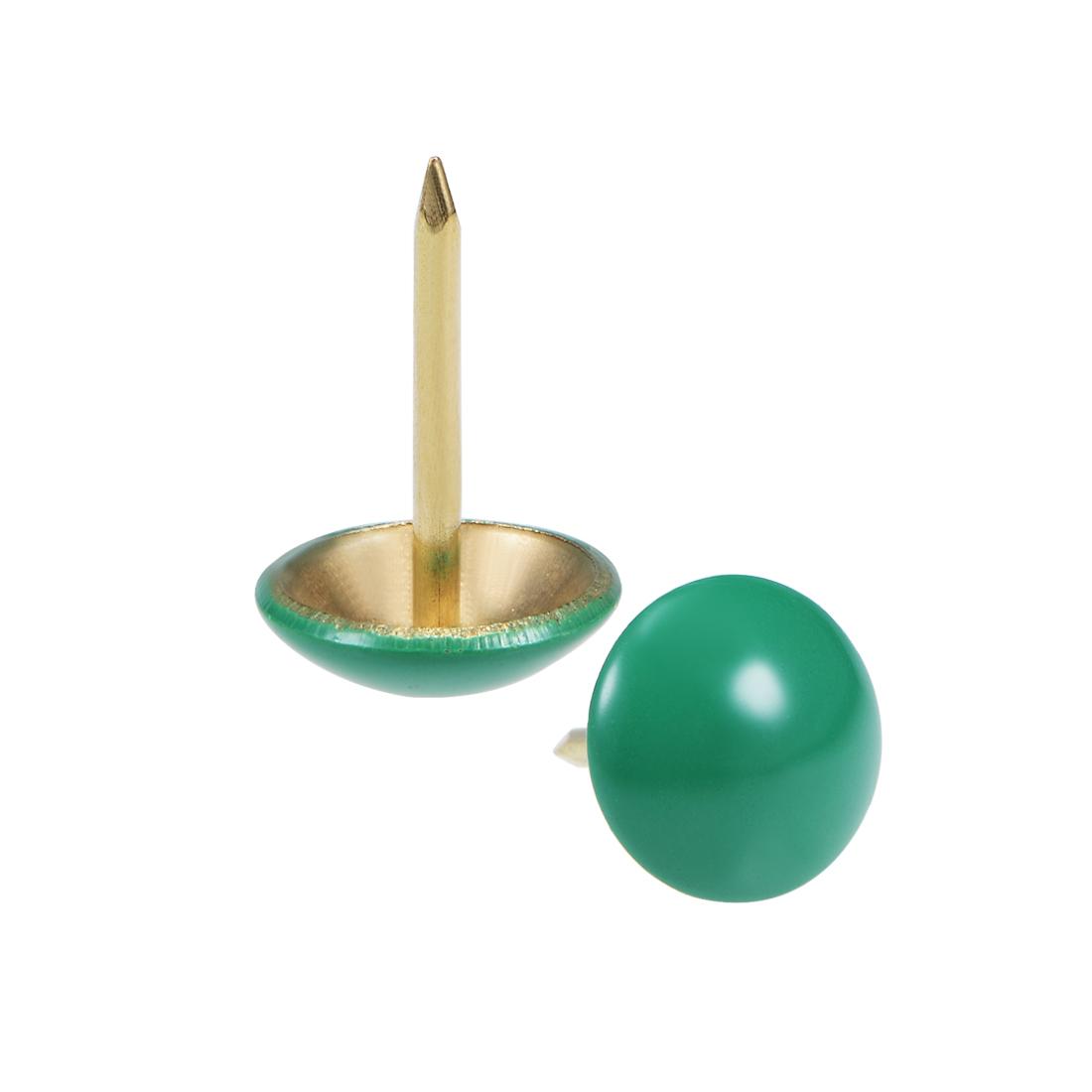 Upholstery Nails Tacks 11mm Green Round Head 17mm Length Thumb Push Pins 100Pcs