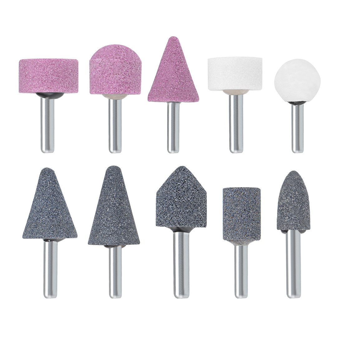 Abrasive Stone Points Set Grinding Wheel with 1/4-inch Shank 10 Pcs