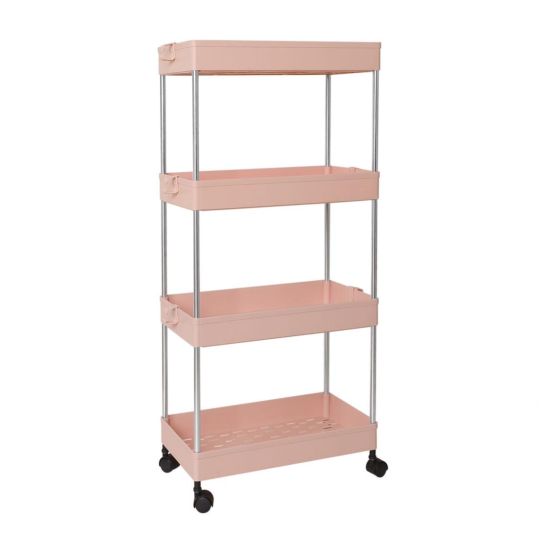 4 Tiers Storage Rolling Cart Organizer Rack w/ Wheels for Bath Kitchen Pink