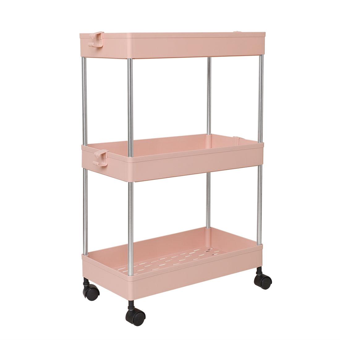 3 Tiers Storage Rolling Cart Organizer Rack w/ Wheels for Bath Kitchen Pink