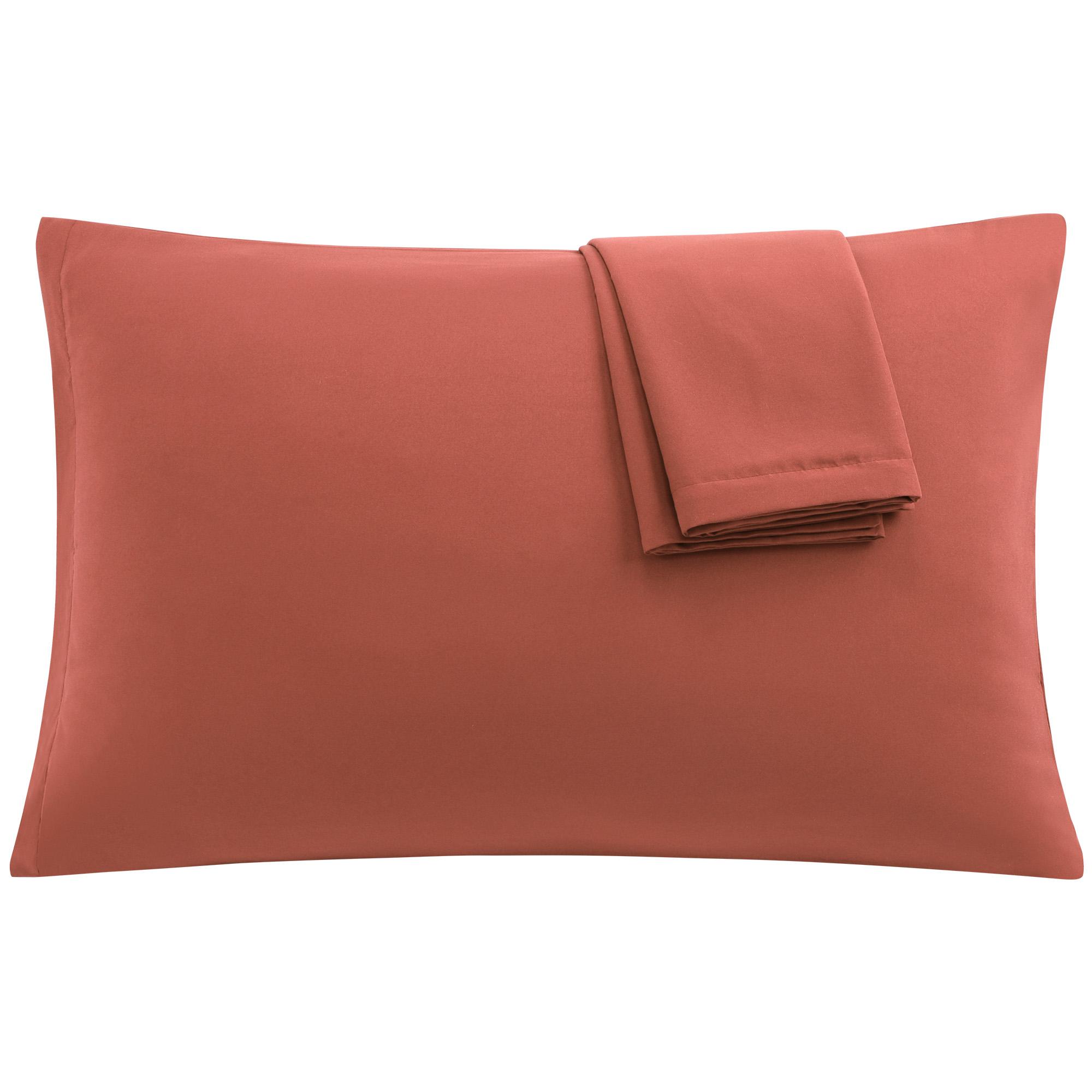 Orange Pillowcases Soft Microfiber Pillow Case with Zipper Travel, 2pcs