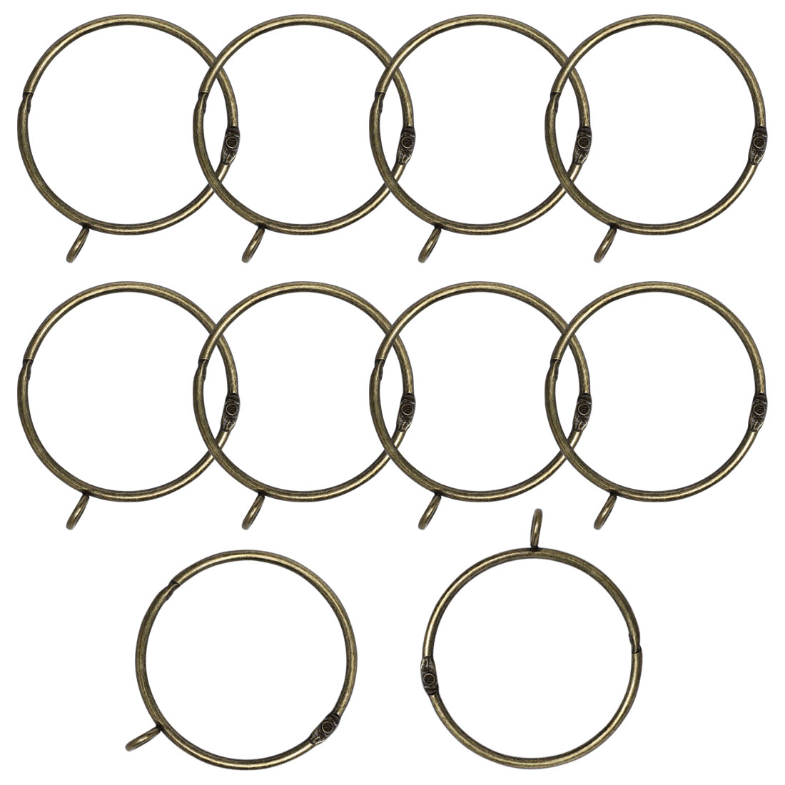 "2.5"" Metal Curtain Rings 10pcs with Eyelet for Shower Curtain, Bronze Tone"