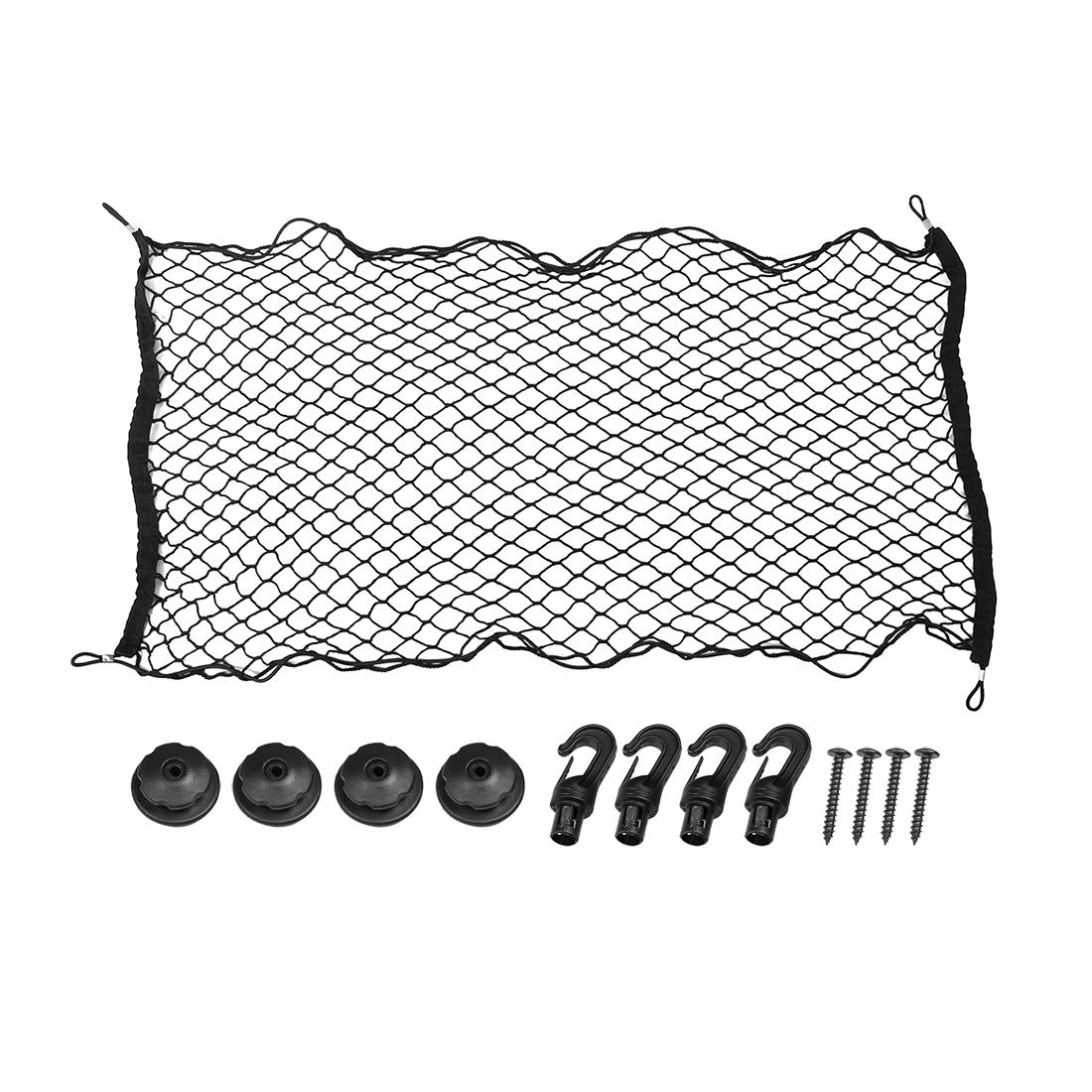 Car Black Nylon Rear Trunk Luggage Net Cargo Storage Organizer Mesh 110 x 60cm