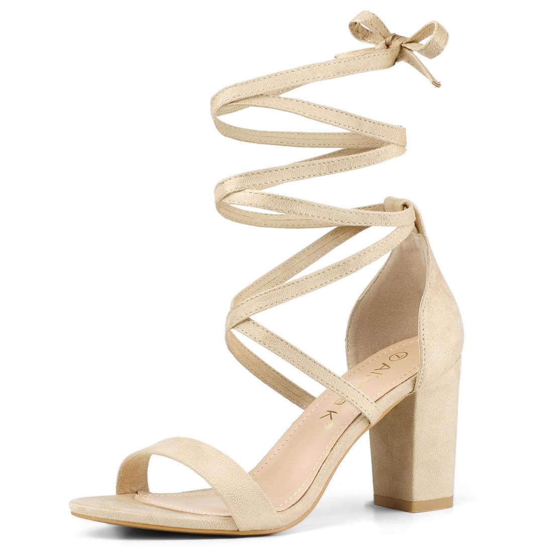 Women's One Strap Block Heel Lace Up Sandals Beige US 7