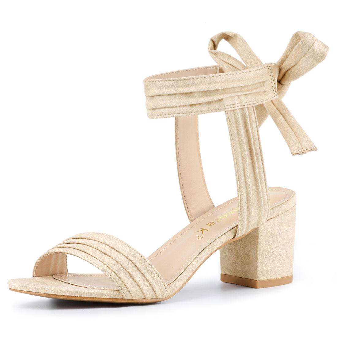 Allegra K Women's Open Toe Ankle Tie Back Block Heel Sandals Beige US 6