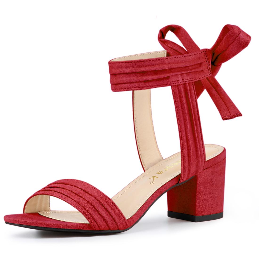 Allegra K Women's Open Toe Ankle Tie Back Block Heel Sandals Red US 5.5
