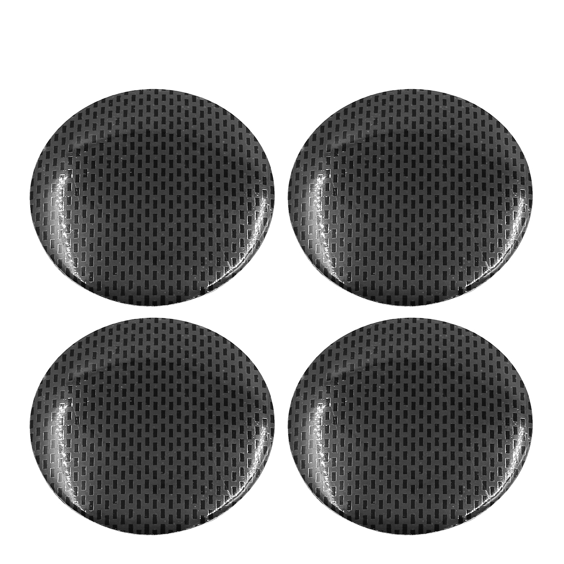 56mm Dia Car Wheel Center Cap Sticker Carbon Fiber Pattern Self Adhesive 4pcs