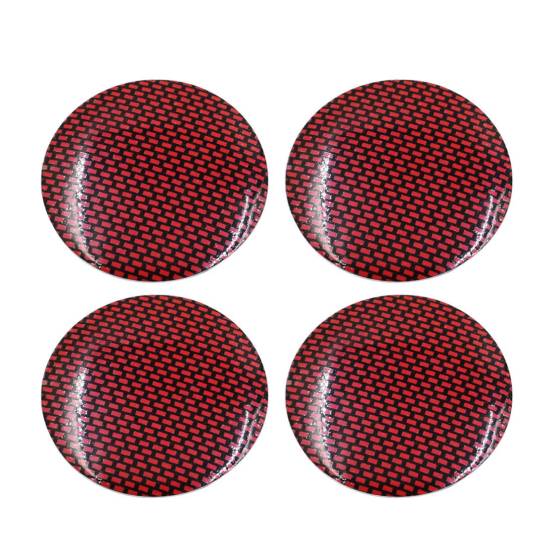 56mm Dia Car Wheel Center Cap Sticker Carbon Fiber Red Pattern 4pcs
