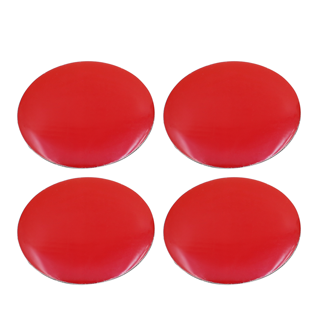 56mm Dia Car Wheel Sticker Hub Caps Centre Cover Decor Red Self Adhesive 4pcs