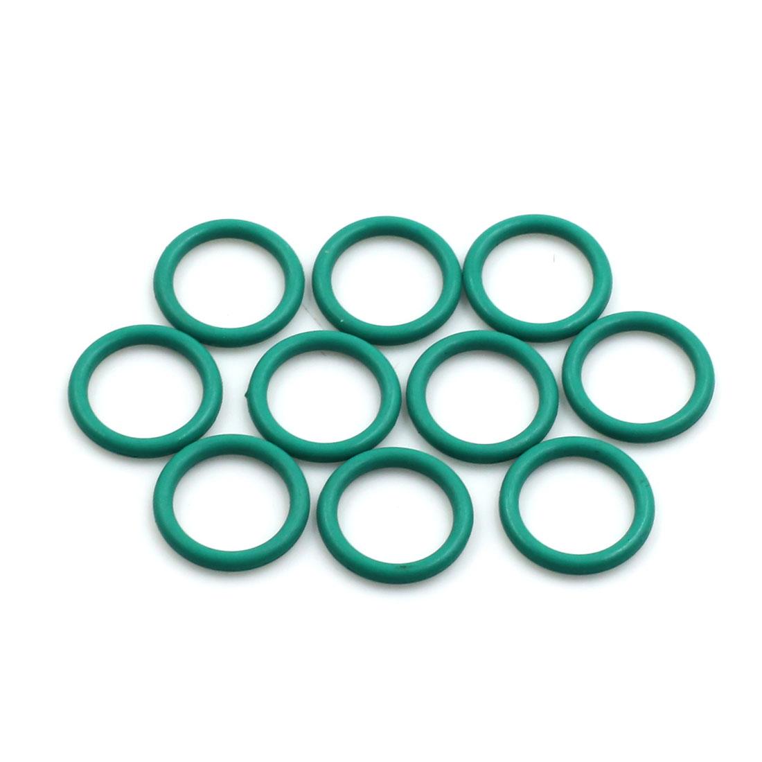 10pcs Green Universal FKM O-Ring Sealing Gasket Washer for Car 15mm x 2mm