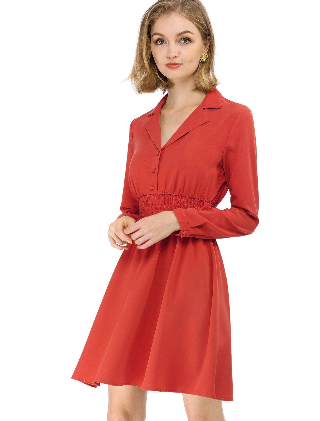 Allegra K Women's Notched Lapel Smocked Waist A-Line Dress Red Orange L