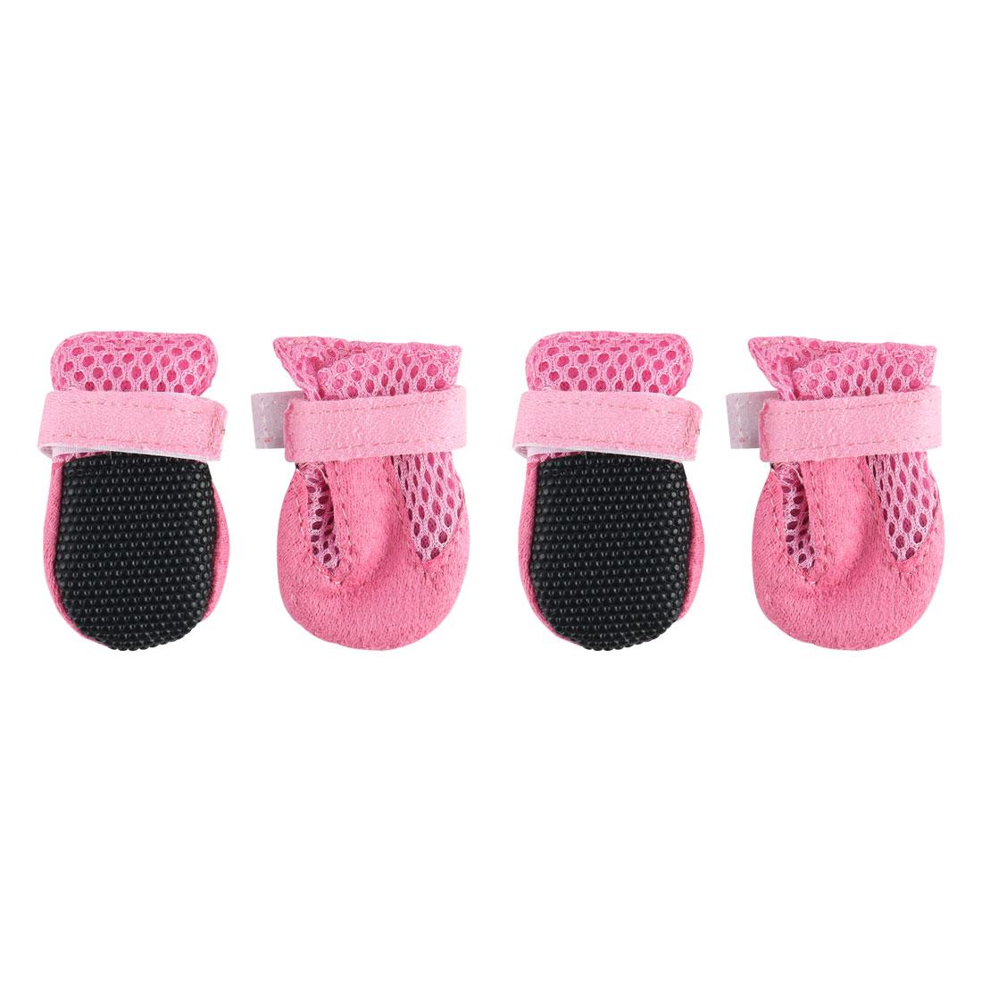 Dog Shoes Pet Boots Wear Resistant Breathable Hiking Paw Protectors Pink 4pcs, L