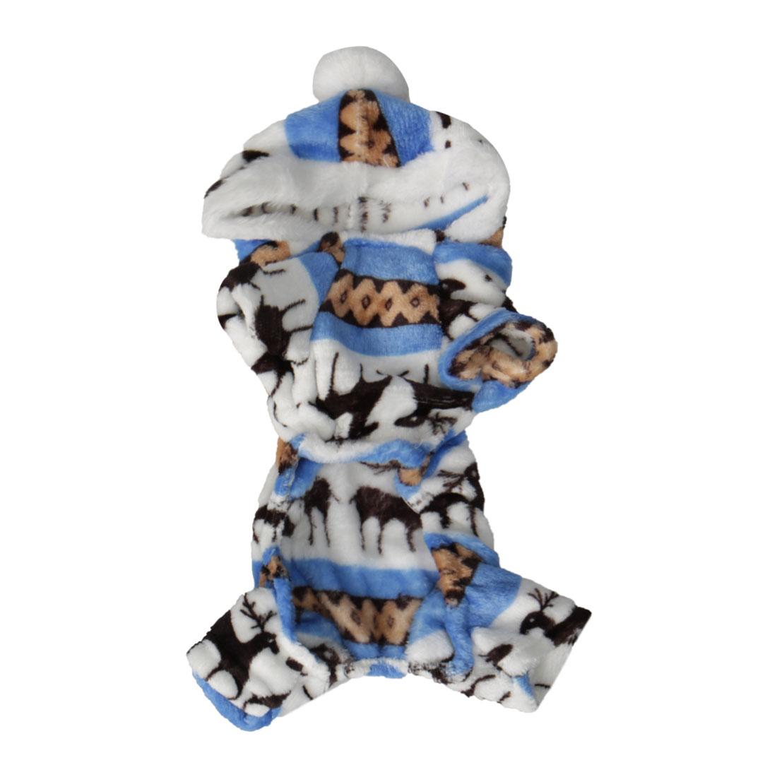 Pet Dog Clothes Cotton Coat Soft Clothing Winter Pet Costume White + Blue S