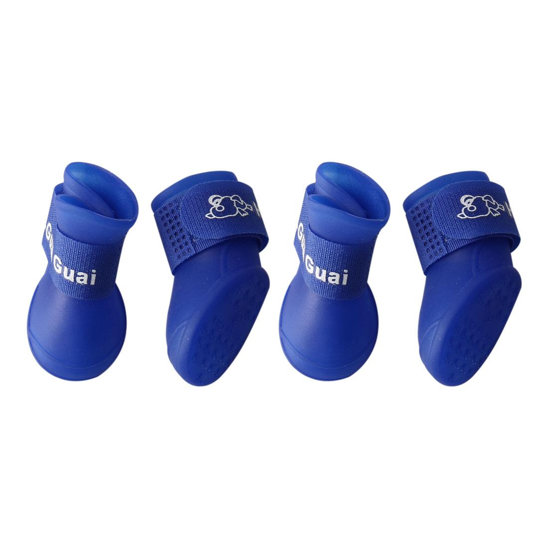 Dog Rain Shoes Pet Boots Water Resistant for Dog Paw Protectors Blue 4pcs, M