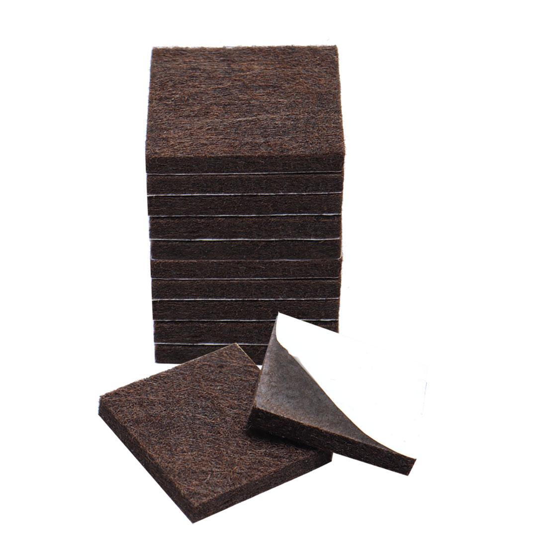 """Furniture Felt Pads Square 3/4"""" Anti-scratch for Furniture Cabinet Brown 12pcs"""