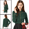 Women's Long Sleeve Button Down Polka Dot Shirt Green M
