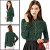 Women's Long Sleeve Button Down Polka Dot Shirt Green L