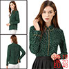 Women's Long Sleeve Button Down Polka Dot Shirt Green XL
