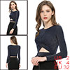 Women's Long Sleeve Crew Neck Cut Out Glitter Crop Tops Dark Blue XS