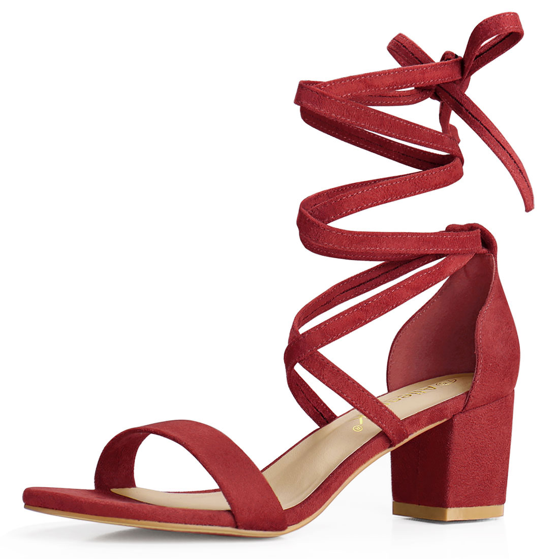 Allegra K Women's Lace Up Mid Chunky Heeled Sandals Red-Faux Suede US 7