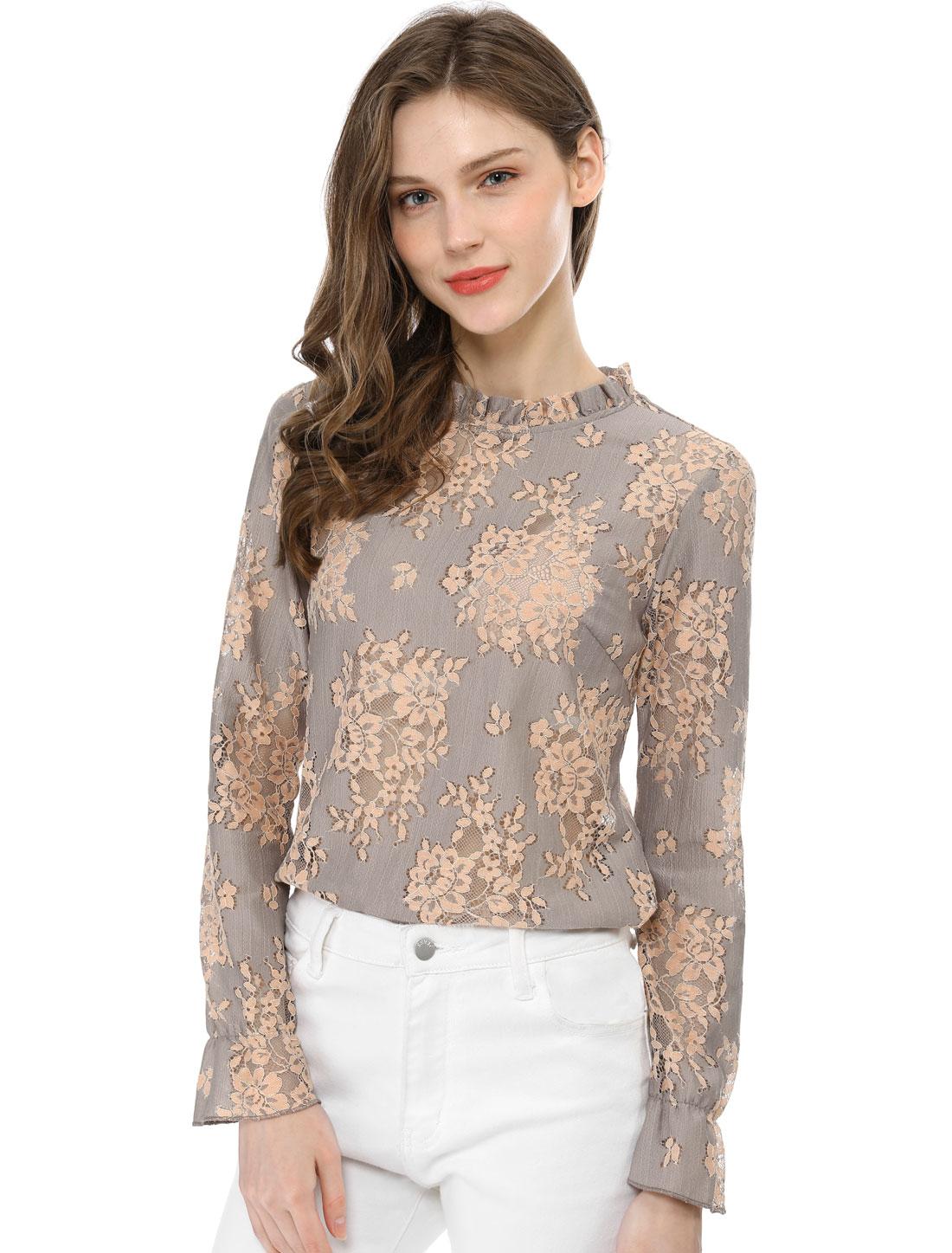 Allegra K Womens Lace Sheer Floral Color Block Blouse Purple S (US 6)