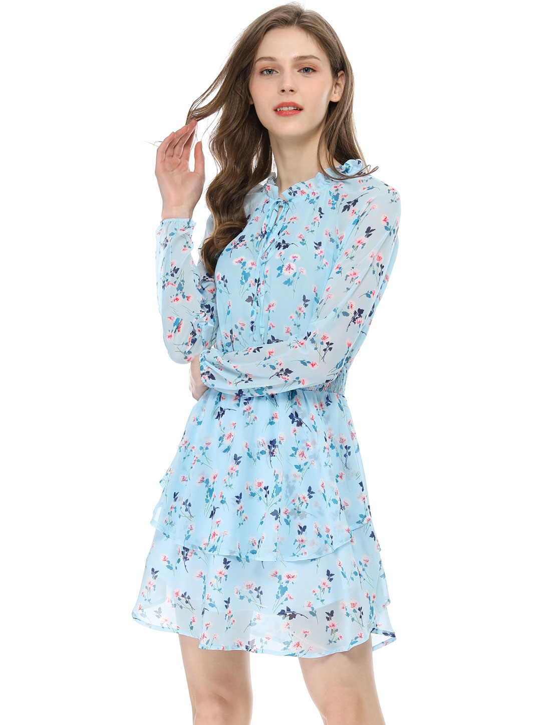 Allegra K Women's Floral Smocked Waist Chiffon Dress Light Blue XS (US 2)