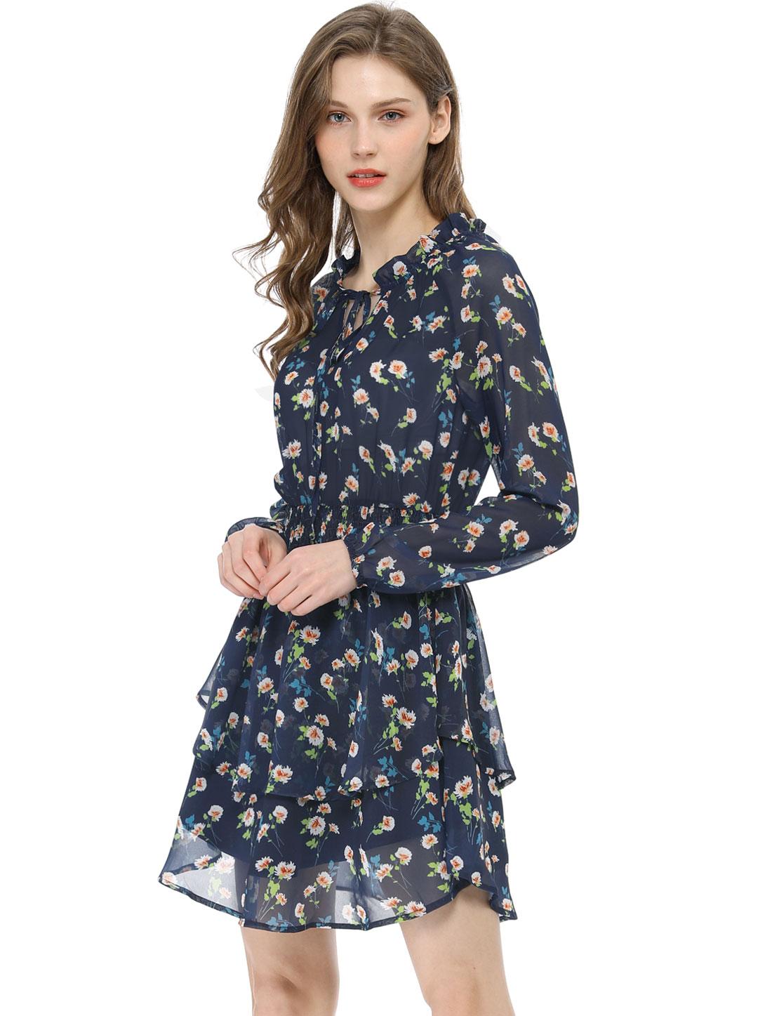 Allegra K Women's Floral Smocked Waist Chiffon Dress Dark Blue S (US 6)