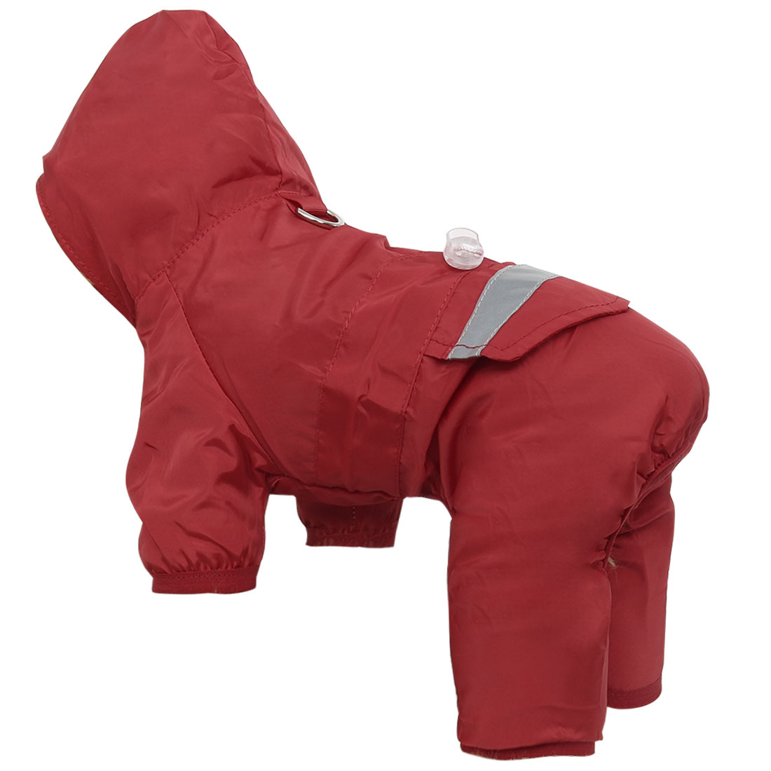 Pet Dog Raincoat Jacket Clothes Polyester Puppy Water-resistant Rainwear, Red M