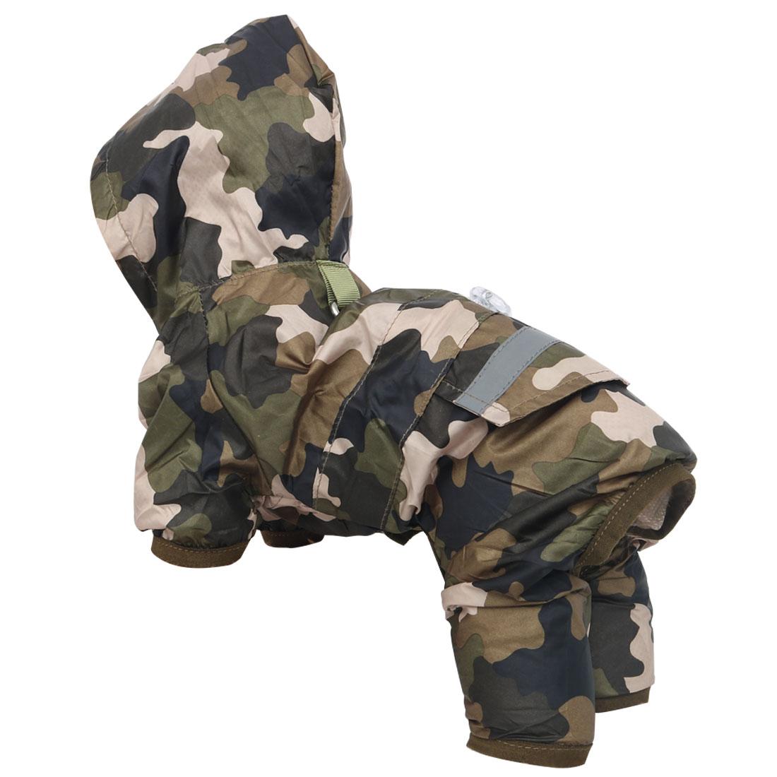 Pet Dog Raincoat Jacket Clothes Polyester Water-resistant Rainwear Camo Color L